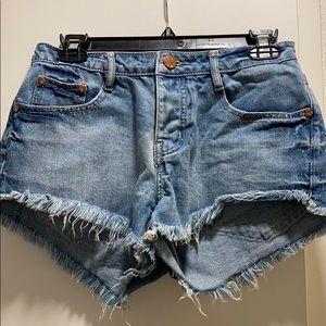 Cotton On medium wash denim shorts
